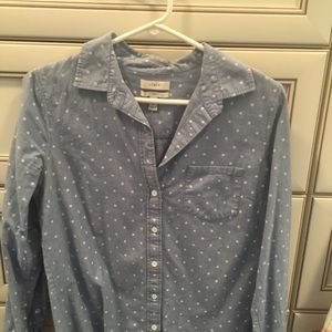 Jcrew denim polka dot top